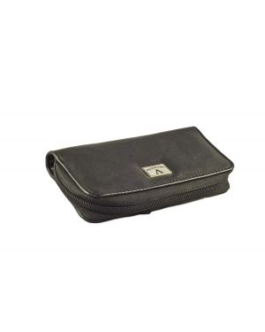 Elegant Cigar Pouch for 3 or 4 Cigars - Black Leather