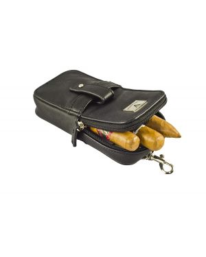 Elegant Cigar Pouch for 3 Cigars and a cutter - Black Leather