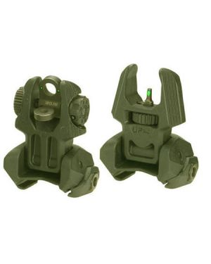 Front and Rear Set of Flip-up Sights with Tritium - 2 Rear Dots - OD Green