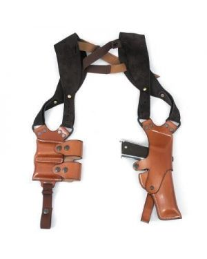 Leather Hinge Shoulder Holster and Magazine Pouch - Medium Frame