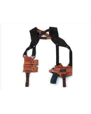 """Fast Draw 5-Way Leather Shoulder Holster with Magazine Pouch - 4"""" 1911 - Left"""
