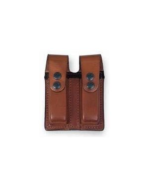 Leather Double Magazine Pouch with Cover - Glock 17/19 - Black