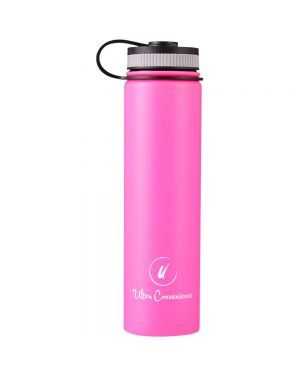 Insulated Water Bottle w/ 2 Lids (25 oz.) Wide Mouth Drink Spout | Stainless Steel, Double Walled, Vacuum Insulated | Ecofriendly, Leakproof, BPA Free