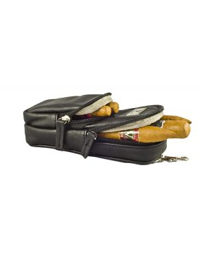 Elegant Cigar Pouch for 3 Cigars ,a cutter and Lighter -Black Leather