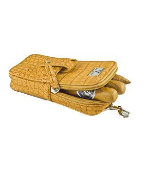 Elegant Cigar Pouch for 3 Cigars and a cutter - Cognac Exotic Croco