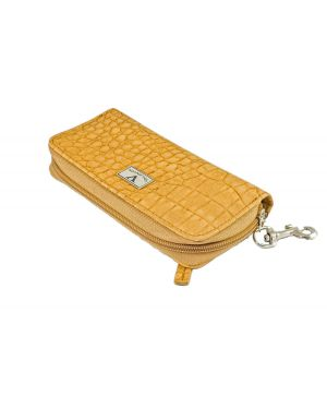 Elegant Cigar Pouch for 3 or 4 Cigars - Cognac Exotic Croco