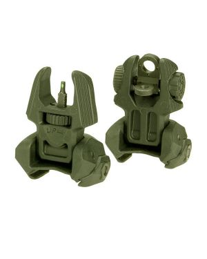 Front and Rear Set of Flip-up Sights with Tritium - 4 Rear Dots - OD Green