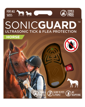 SonicGuard HORSE Ultrasonic tick and flea repeller for horses of all size-Brown