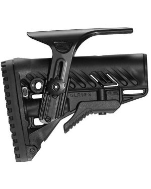 M4/AR-15 Stock with Adjustable Cheek Riser, Battery Storage & Rubber Buttpad - Black
