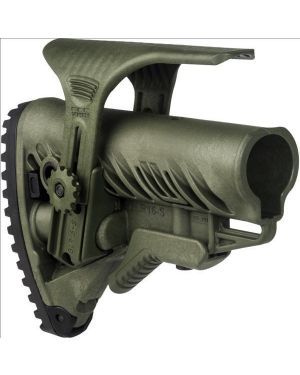 M4/AR-15 Stock with Adjustable Cheek Riser, Battery Storage & Rubber Buttpad - OD Green