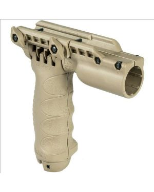"""Tactical Vertical Foregrip with Integrated Adjustable Bipod and 1"""" flashlight adapter - Gen 2 - Flat Dark Earth"""