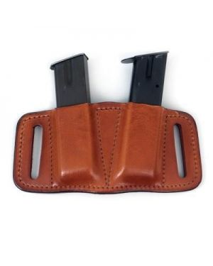 Leather Tactical Double Magazine Pouch - Glock 17/19 - Black