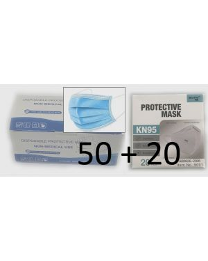 Combo of 20 x KN95 Protective Mask and 50 x 3-Layers Protective Mask + Free Shipping