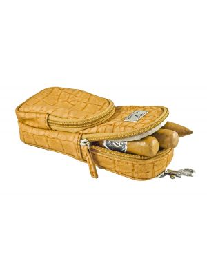 Elegant Cigar Pouch for 3 Cigars ,a cutter and Lighter - Cognac Exotic Croco
